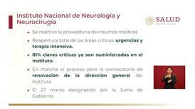 Ya se reactivaron servicios en Instituto Nacional de Neurología y Neurocirugía: López-Gatell