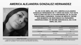 Emiten Alerta Amber por desaparición de América González, de 17 años, en alcaldía Venustiano Carranza