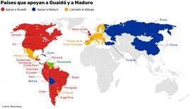 El mapa de los países que apoyan a Maduro y a Guaidó